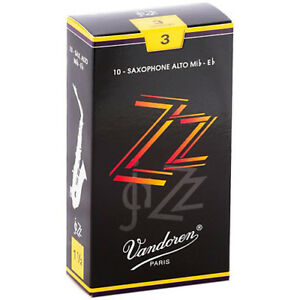 Vandoren ZZ Jazz Alto Sax Reeds Strength 3 (Box of 10)