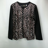 Bob Mackie Sequin Front Knit Zip Front Jacket Champagne M A296418