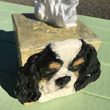 American Cocker Spaniel dog Art Ceramic tissue box cover Relief Handmade