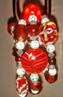 Memory Wire Wrap Bracelet With Red and White Color Toned Glass  Beads Handmade