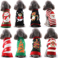 Christmas Santa Claus Dog Sweater Stripe Dog Vest Waistcoat Pet Reindeer Clothes