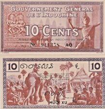 French Indochina P85e, 10 Cents, dancer, sculpture / market, elephant, 1939 UNC!