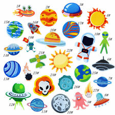 Outer Space Planet Embroidered Iron On Patches Badge Applique Crafts DIY Kids