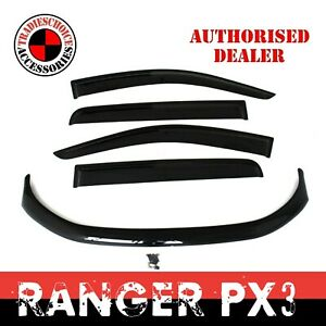 Bonnet Protector + Window Visors Weathershields to suit Ford Ranger PX 2 3 15-21