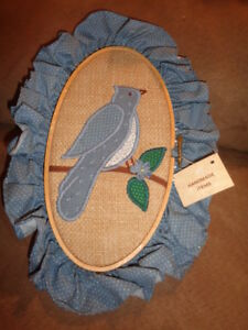 """Bird Applique Country Blue Fabric Ruffle 9 1/4"""" Oval Wood Wooden Hoop Completed"""