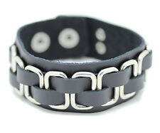 Genuine Leather Bracelet Black Stainless Steel Mens Wristband Button Square