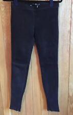Balenciaga Black Vachetta Leather / Suede Stretch Leggings, BNWT, Size 34