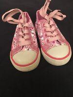 GIRL HELLO KITTY Sanrio Kid Shoe Size 6 tie laces pink Sparkle Princess