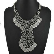 Ethnic Tribal Boho Coin Double Chain Statement Necklace Bohemian Fashion Jewelry