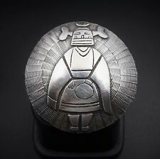 "Hopi Overlay Sterling Silver Pueblo Kachina Disc Figure Pendant Pin 2"" PS1218"