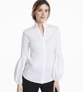 WHITE HOUSE BLACK MARKET - BNWT Lantern Sleeve White Ecru Shirt - Size 14