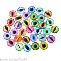 10 Mix Augen Glassteine Cabochons Klebstein Klebeperlen Glaskuppel 2cm