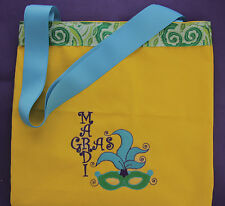 Mardi Gras Embroidered Yellow Canvas Tote Bag - Mardi Gras Mask Tote Catch Beads