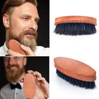 Men Bristle Military Hard Round Wood Handle Comb Boar Hair Beard Mustache Brush