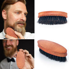 Men Bristle Military Hard Round Wood Handle Comb Boar Hair Beard Mustache Brush