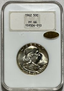 1962 Franklin 50c Silver Half Dollar NGC PROOF 66 CAC GOLD LABEL!