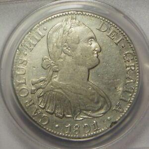 1801 FT/M 8 Reales:   ANACS EF 45:   Mexico City Mint
