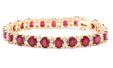 29.80Ct Ruby and Natural Diamond 14K Solid Yellow Gold Bracelet