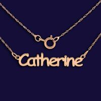 9ct Rose Gold Personalised Nameplate ANY NAME Necklace Valentines Gift  Box