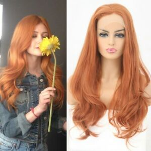 24inch Synthetic hair Glueless Lace front wigs Handtied Orange Long Wavy