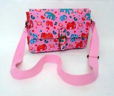 MISS LULU Pink Elephants Oilcloth Shoulder Cross Body Messenger Bag Satchel  NEW