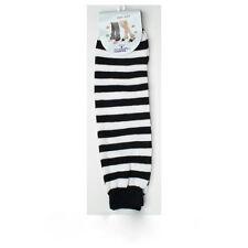 NEW PUNK RETRO ROCK LONG SOCKS ~ BLACK WHITE STRIPED STRIPES LEG WARMERS #LG117