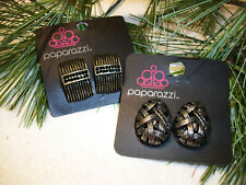 2 Pair PAPARAZZI Clip Earrings Gold w/Crystals + Silver w/Crystals NEW