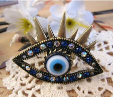 Vintage Retro Punk Gothic Exaggerated Vampire Blue Color Eye Rings Women