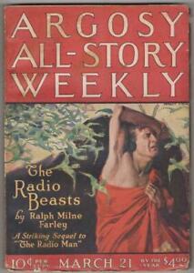Argosy  Mar 21 1925 Modest Stein Cvr; Ralph Milne Farley; Max Brand