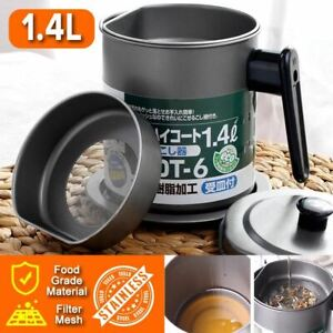 idrop 1.4L Stainless Steel Kitchen Oil Pot Filter Cup with Lid Cover