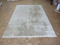 10 X 14'2 Hand Knotted Beige Modern Abstract Fine Oriental Rug With Silk G4311