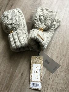 BN Designer Lipsy from Next Chunky Knit Mittens / Fingerless Gloves £14 RRP