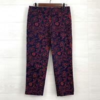 LOFT SZ 2 Marisa Fit Cropped Filigree Flat Front Trouser Pants Navy Blue Red