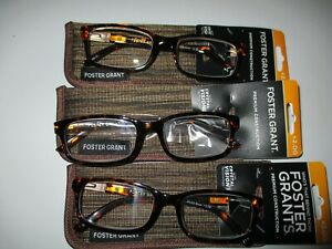NEW!! 3 PAIRS OF FOSTER GRANT MENS BROWN READING GLASSES W/CASE +2.00 BOSTON