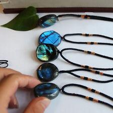 Natural Labradorite Quartz Crystal Healing Stone Gemstone Pendant Necklace