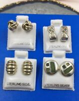 Vtg.Lot x 4 Sterling Silver 925 Assorted Pierced Earrings Excellent A1