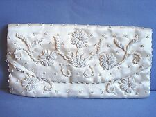 EVENING PURSE HAND BEADED on CREAM SATIN ENVELOPE  VINTAGE f/ HONG KONG EUC