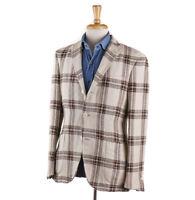 NWT $1395 BOGLIOLI Brown and Cream Check Linen-Silk Sport Coat 38 R (Eu 48)