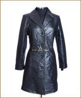 Rita Black Ladies New Smart Long Knee-Length Real Soft Lambskin Leather Coat