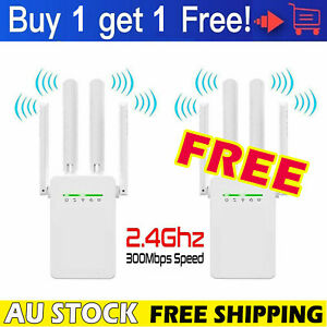 2x WiFi Extender Repeater 4 Antenna Wireless Router Wifi Signal Range Booster AU