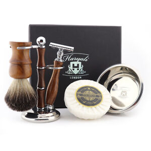 HARYALI Wooden Handle Shaving Set Barber Shop Shaving Kit for Mustache and Beard