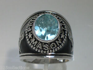Prince Hall Mason Masonic March Aqua Marine Stone Rhodium Men's Ring Size 7-14