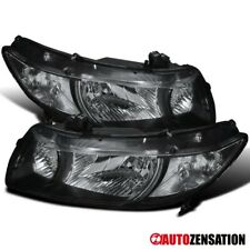 Fits 2006-2011 Honda Civic 2Dr Coupe Pair Black Headlights Left+Right