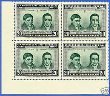 CHILE, MANUEL DE SALAS AND JUAN EGAÑA, MNH, BLOCK OF FOUR, YEAR 1960