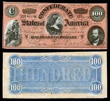 UNC. 1864 $100 CONFEDRATE STATE OF AMERICA BANKNOTE COPY! PLEASE READ DESCR