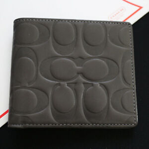 NWT COACH Men Embossed Signature Leather Dk Gray Bifold Wallet NEW