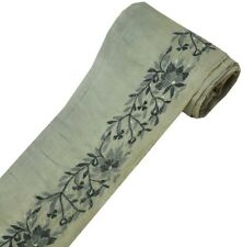 Vintage Saree Border Indian Craft Trim Embroidered Sewing Ribbon Lace Gray