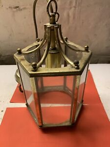 Vintage brass and glass lantern style ceiling light