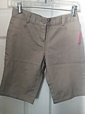 Nautica Girls Khaki School Uniform Skinny Bermuda Shorts  size 12