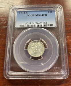 1944-S 10C Mercury Silver Dime NGC MS64FB